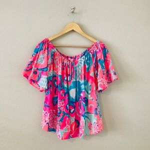 NWT Lilly Pulitzer Sain Top Off the Shoulder Coral